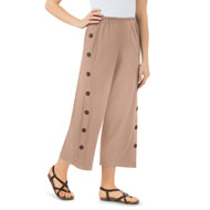 Knit Side-Button Cropped Pants with Button Accents - 46718