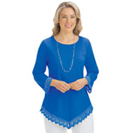 Lace Trim V-Hemline Tunic with Scoop Neckline - 46719