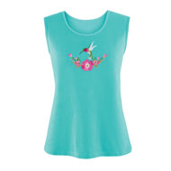 Turquoise Hummingbird Embroidered Tank Top - 46720