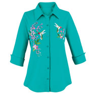 Turquoise Hummingbird Embroidered Button Front Shirt - 46721