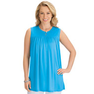 Sleeveless Keyhole Knit Tunic with Built-In Bra