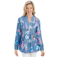 Floral Pintuck Tunic with V-Neck and Long Sleeves - 46724