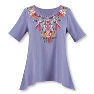 Embroidered Floral Short Sleeve Sharkbite Tunic - 46725
