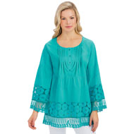 Floral Lace Border Button Accent Pintuck Tunic - 46728