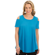 Solid Color Cold Shoulder Easy Fit Tunic - 46730