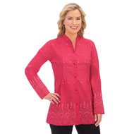 Eyelet Border Pintuck Button-Front Tunic - 46733