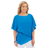 Asymmetrical Tiered Tunic Blouse with Scoop Neck - 46734