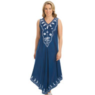 Embroidered Easy Fit Woven Sleeveless Dress - 46744
