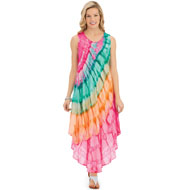 Diagonal Tie Dye Flowing Sleeveless Dress - 46747