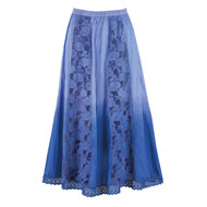 Ombre Skirt with Lace Panels and Crochet Hemline - 46750
