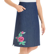 Embroidered Rose Knee Length Denim Skirt - 46754