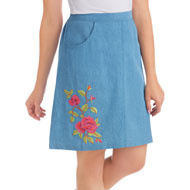 Embroidered Rose Denim Skort with Elastic Waistband - 46755