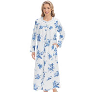 Floral Lace Trim Comfortable Cotton Robe - 46756
