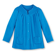 Soft Fleece Snap Front Bed Jacket - 46759