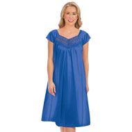 Lace Trimmed Tricot Nightgown with Sweetheart Neck - 46763