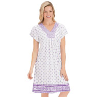 Floral and Border Print V-Neck Nightgown - 46766