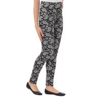 Black and White Paisley Print Leggings - 46767