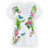 Floral and Butterfly Print Short Sleeve Top - 46771