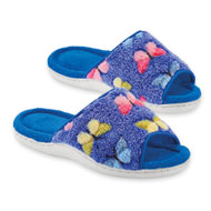 Plush Butterfly Print Terry Cloth Slippers