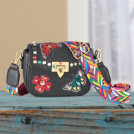 Butterfly and Beaded Handbag with Gold Accent - 46788