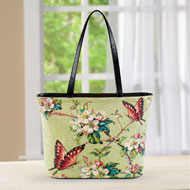 Floral Butterfly Print Over-The-Shoulder Handbag - 46793