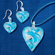Blue Hand-Crafted Glass Heart Jewelry Set - 46796