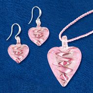 Lavender Hand-Crafted Glass Heart Jewelry Set - 46797