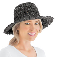 Lurex Crochet Wide Brim Sun Hat - 46811