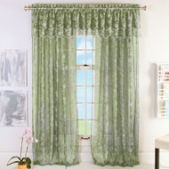 Embroidered Sheer Window Curtain Panel - 46826