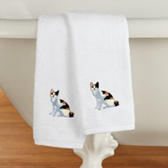 Cats Embroidered Cotton Hand Towels Set of 2 - 46833