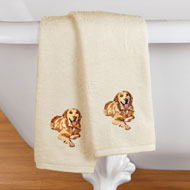 Dogs Embroidered Cotton Hand Towels Set of 2