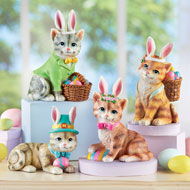 Set of 4 Easter Bunny Kitten Sitters Decoration - 46841