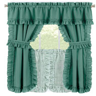 Ruffled Kitchen Cafe Curtain Tier Set with Tiebacks