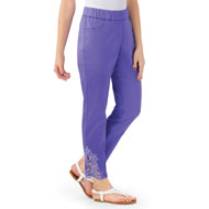 Purple Lace Inset Ankle Pant with Faux Pockets - 46878