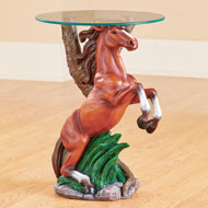 Western Horse Sculpture Accent Table with Glass Top - 46879