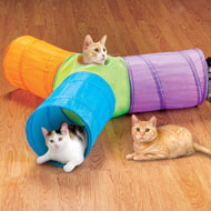 3 Way Pop Up Cat Tunnel with Hanging Toys - 46908