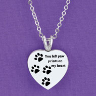 Paw Print Heart Photo Locket Necklace - 46909