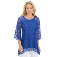 All Lace Sharkbite Hem Tunic with 3/4 Sleeves - 46910