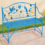 Blue Bird Metal Scrolling Garden Bench - 46919