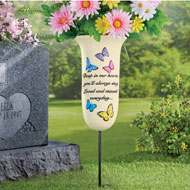 Loved and Missed Memorial Vase Garden Stake - 46924