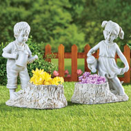 Cute Kids Watering Plants Antique-Finish Planter - 46925