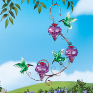 Triple Purple Glass Hanging Hummingbird Feeder