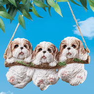 Three Dogs on Log Swing Hanging Tree Decoration - 46953