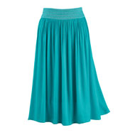 Gauze Skirt with Embroidered Elastic Waistband