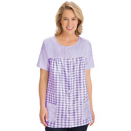 Seersucker Snap Front Top with Pockets - 46985