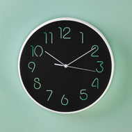 Simple Black Glow-In-The-Dark Wall Clock - 47020