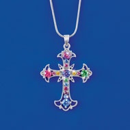 Multi Colored Silver-Toned Crystal Cross Necklace - 47029
