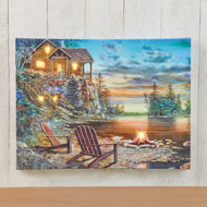 Lighted Cabin On The Lake LED Canvas Wall Art - 47030