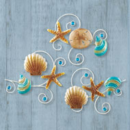 Shiny Shell and Sand Dollar Wall Trio - 47031