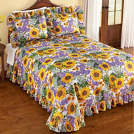 Sunflower and Lavender Plisse Ruffled Bedspread - 47033